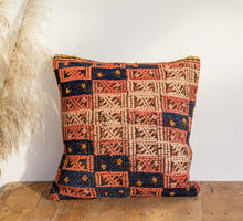 Load image into Gallery viewer, Boho kilim cushion with apricot rose and midnight blue colours