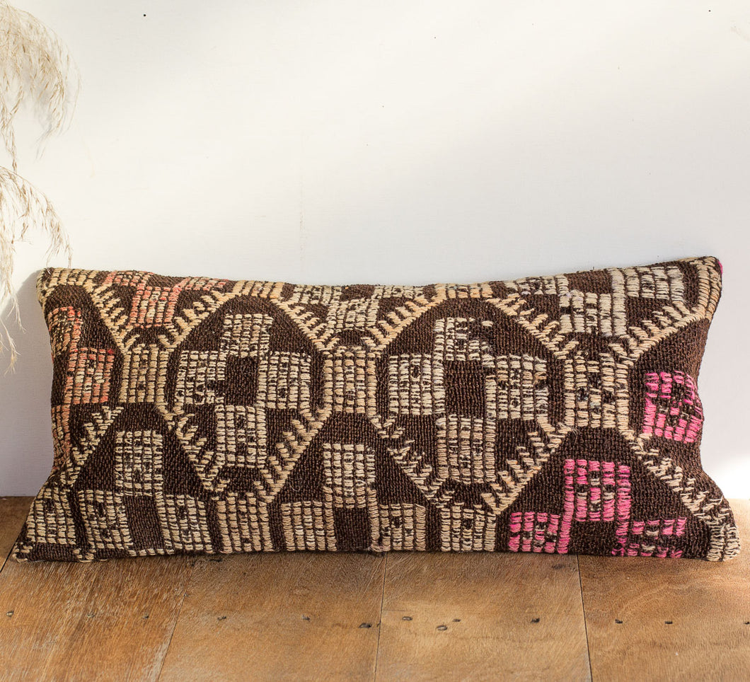 Boho kilim cushion with brown cream pattern