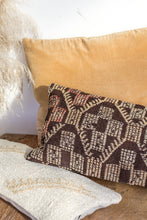 Load image into Gallery viewer, Boho kilim cushion with brown cream pattern