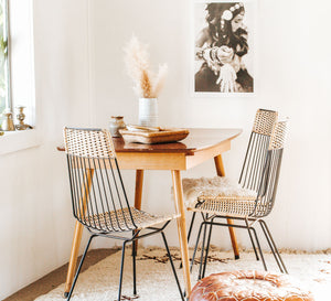 Vintage boho cane wicker chairs with metal legs and back