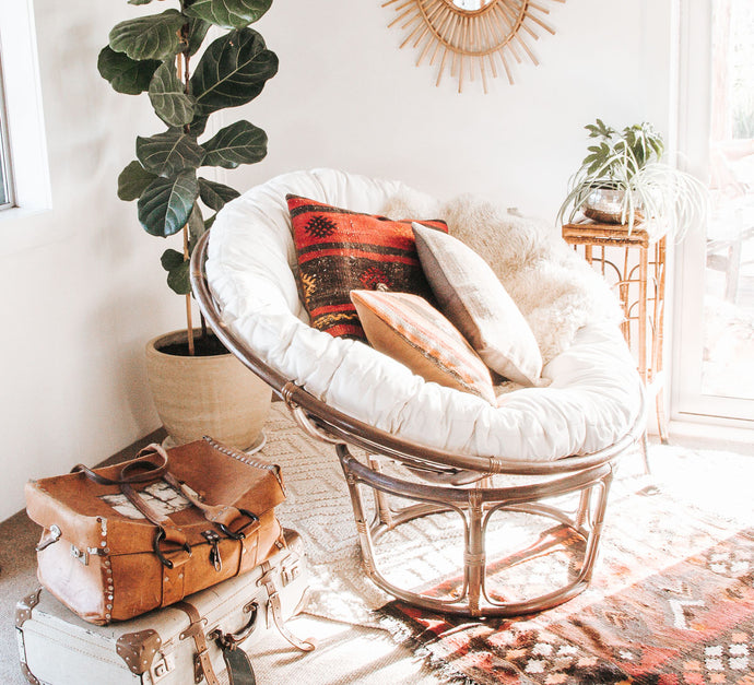 Boho brown cane papasan chair
