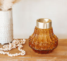 Load image into Gallery viewer, Vintage glass boho ambergold lightshade candleholder