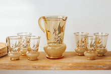Load image into Gallery viewer, Vintage boho ambergold bird design jug and glass set