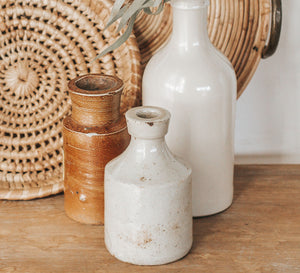 Vintage toasted small cream stone crock ink bottle