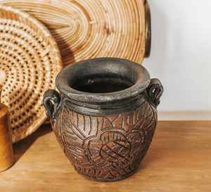 Rustic boho embossed pottery planter