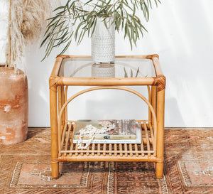 Vintage boho square cane and bamboo glass top coffee table with shelf