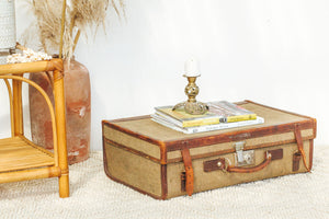 Vintage Canvas & Leather Suitcase
