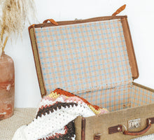 Load image into Gallery viewer, Vintage Canvas & Leather Suitcase