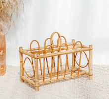 Load image into Gallery viewer, Vintage boho cane and bamboo magazine rack