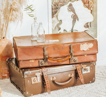 Load image into Gallery viewer, Vintage boho  brown leather revelation suitcase
