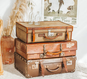 Vintage boho  canvas and leather suitcase