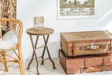 Load image into Gallery viewer, Vintage boho  canvas and leather suitcase
