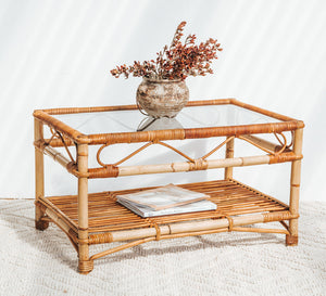 Vintage cane and bamboo coffee table
