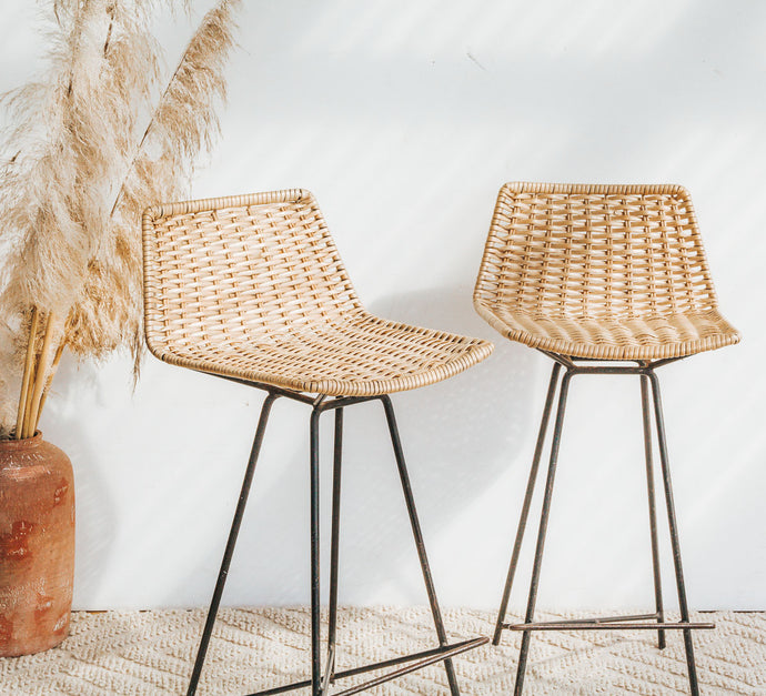 Vintage cane wicker bar stools with wrougt iron legs