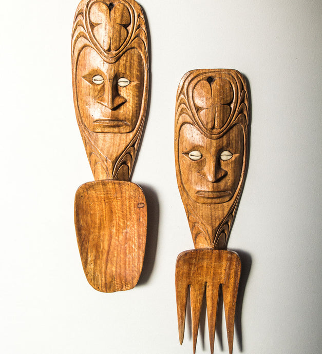Boho pacifica wood carved salad servers