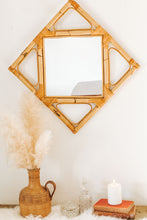Load image into Gallery viewer, Vintage bamboo and cane diamond shaped mirror