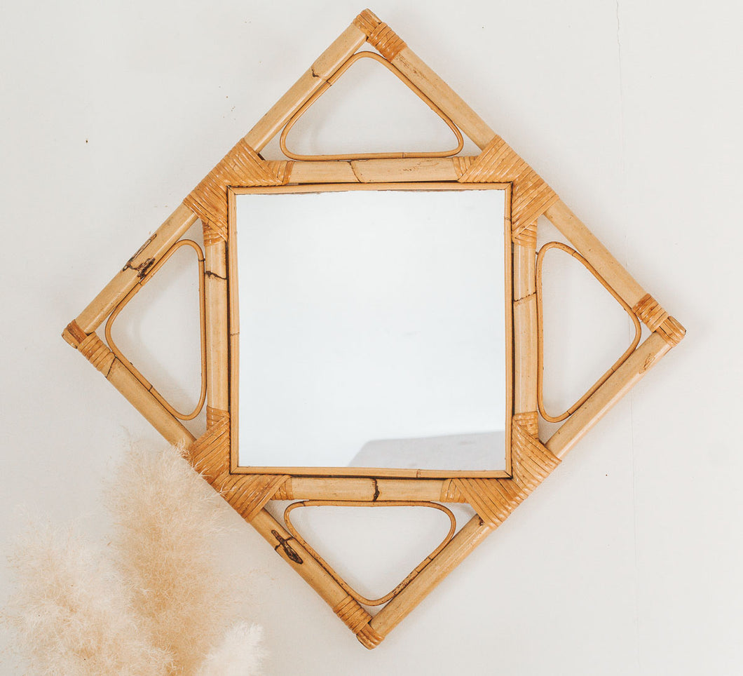 Vintage bamboo and cane diamond shaped mirror