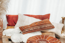 Load image into Gallery viewer, Vintage boho kilim cushion with orange and red stripes