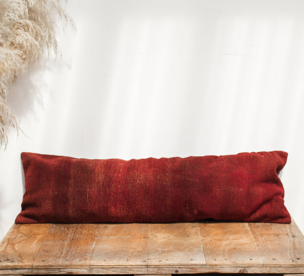 Boho vintage lumbar kilim cushion dark red