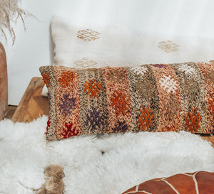 Boho vintage wool kilim lumbar cushion