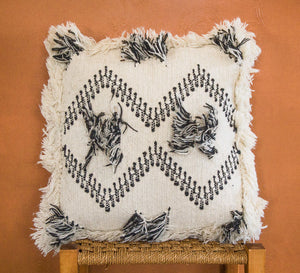 Bohemian wool tassled cushion