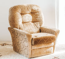 Load image into Gallery viewer, Vintage boho velvet gold embossed armchair