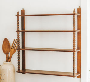 Vintage mid century wooden shelves with carved front detail