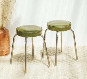 Vintage retro chrome and olive green vinyl stools