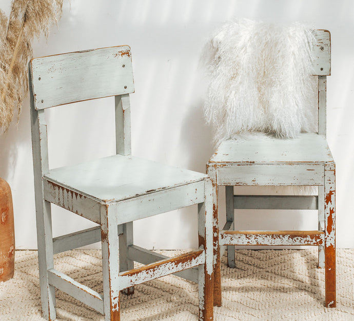 Vintage boho shabby chic wooden school chairs