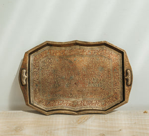 Vintage ethnic rectangle etched brass tray