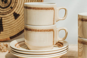Vintage Crown Lynn Coffee Mugs & Saucers