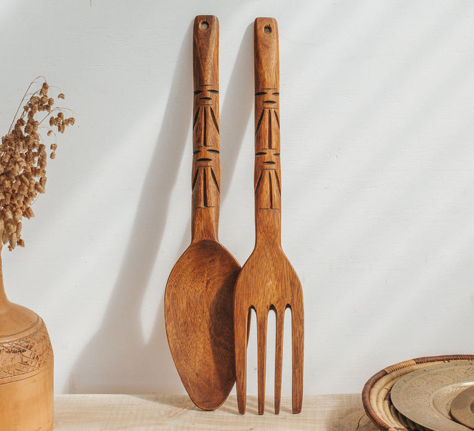 Vintage boho pacifica style handcarved salad servers