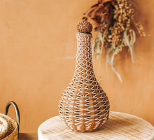 Load image into Gallery viewer, Vintage retro wicker glass bottle vase