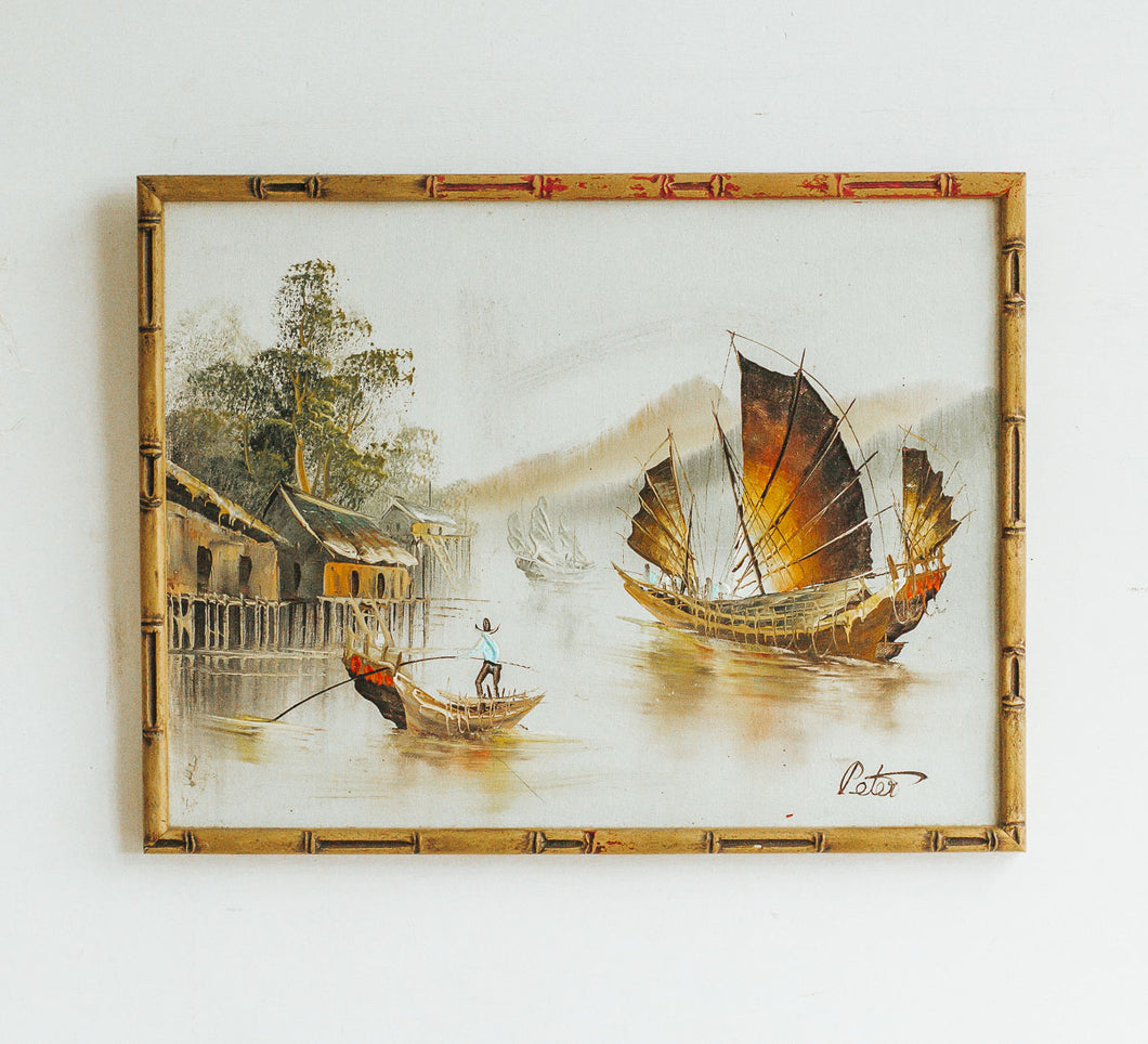 Vintage asian painting of ship.  Oil on canvas with bamboo wood frame