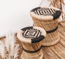 Load image into Gallery viewer, Boho bamboo and jute woven stools