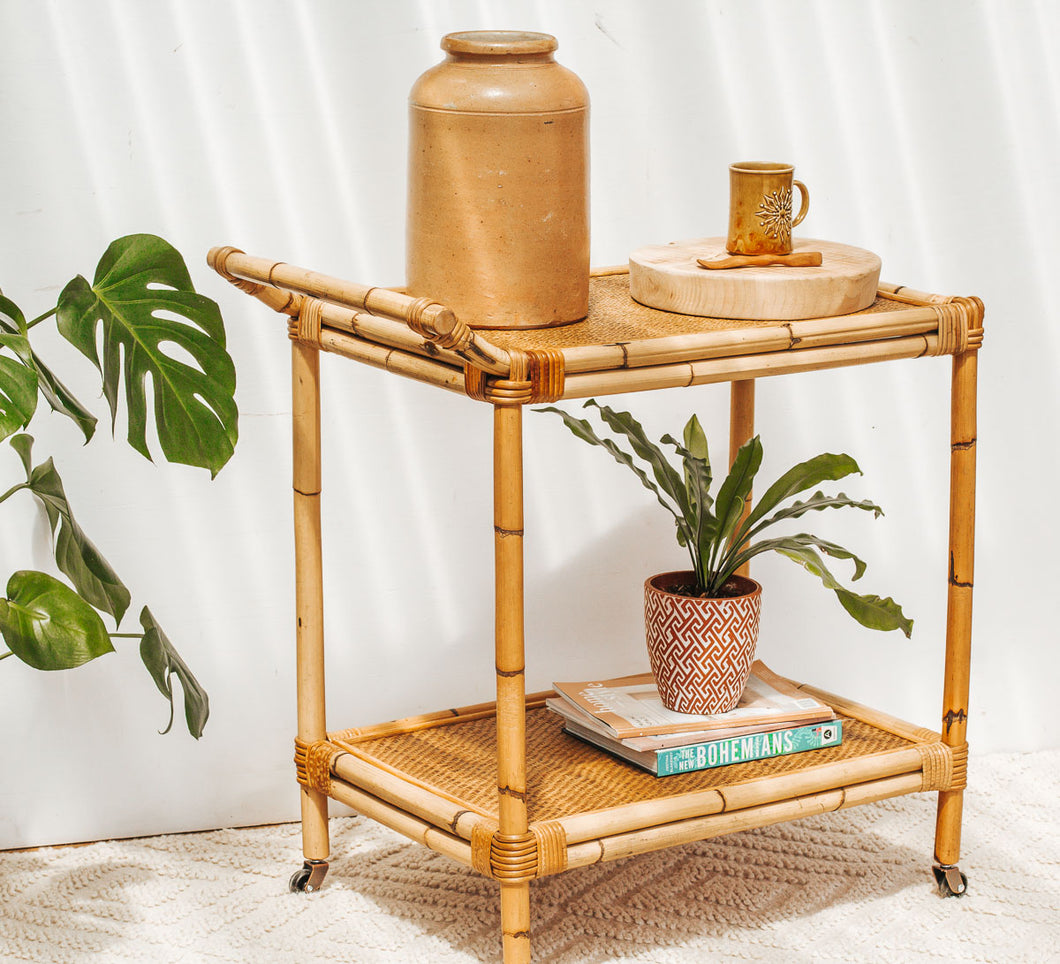 Vintage boho bamboo and cane rattan drinks trolley