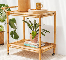 Load image into Gallery viewer, Vintage boho bamboo and cane rattan drinks trolley