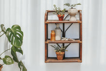 Load image into Gallery viewer, Vintage boho bamboo and cane rattan shelf