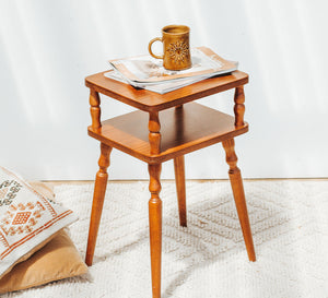 Vintage boho retro wooden telephone side table