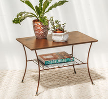 Load image into Gallery viewer, Vintage boho retro mid century wood coffee table with metal legs