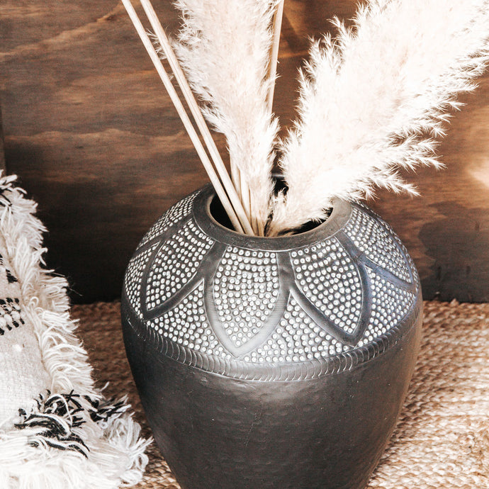 Boho aluminium hammered patterned vase