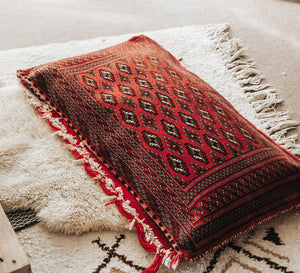 Vintage turkish red and white patterned tribal rectangle floor cushion