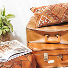 Load image into Gallery viewer, Vintage tan vinyl retro suitcase with brass zips
