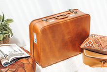 Load image into Gallery viewer, Vintage retro tan suitcase