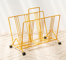 Load image into Gallery viewer, Yellow Vintage retro steel wire magazine rack with black round ball feet