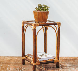 Vintage cane bamboo coffee side table