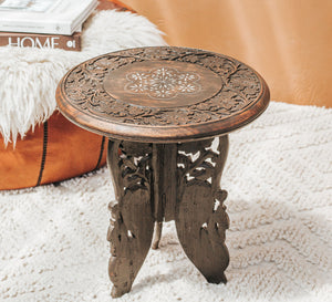 Vintage mini handcarved indian table with folding legs