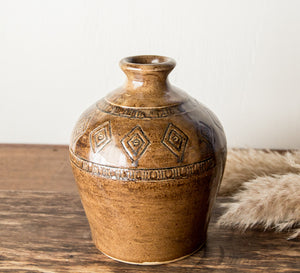 Glazed pottery vase