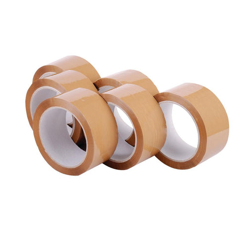 Acrylic Brown Packing Tape (48mm X 91m) - Pack of 6