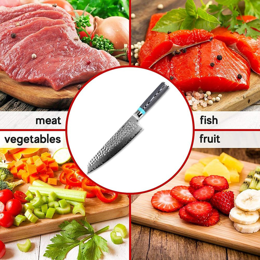 Akuamarin Damascus Santoku - Official Retailer-Be Healthy Be Loved